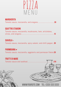 Pizza menu table a4 card clean template