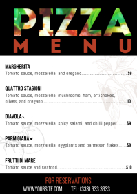 Pizza menu table a4 card text mask template
