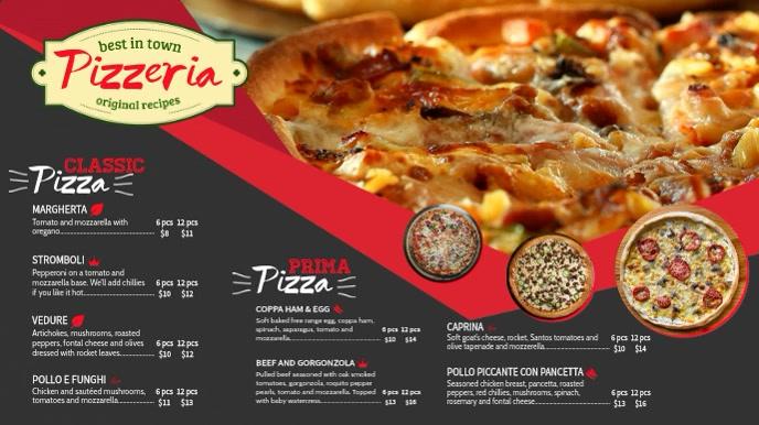 pizza menu tv ad menu template