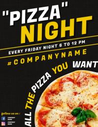 pizza night flyer advertisement design templa template
