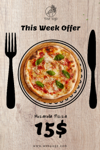 pizza offer top view flyer template