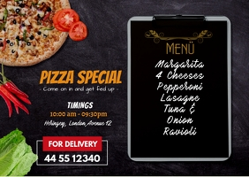 Pizza Online Service Ad A6 template