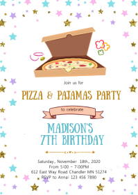 Pizza pajamas birthday invitation