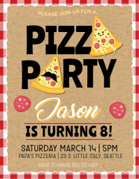 Pizza Party Birthday Party Invitation