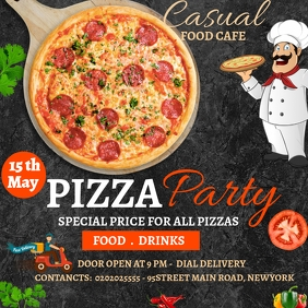 PIZZA PARTY DAY SPECIAL OFFER POSTER TEMPLATE Instagram Plasing