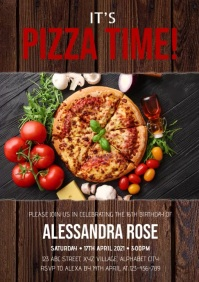 Pizza Party Invitation A4 template