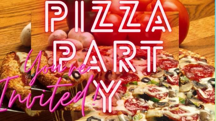 Pizza Party Invited Foto de Portada de Canal de YouTube template
