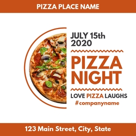 pizza place instagram post orange and white c template
