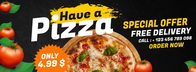pizza place special offer advertisement Facebook Cover Photo template