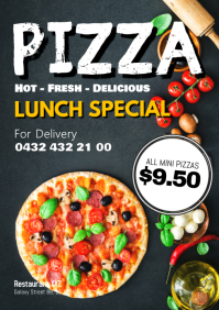 Pizza Promo Delivery Menu Restaurant Ad Deal A4 template