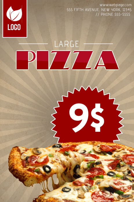 pizza promotional sale flyer template for single pizza