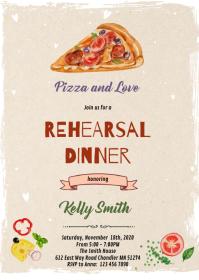 Pizza rehearsal theme invitation A6 template