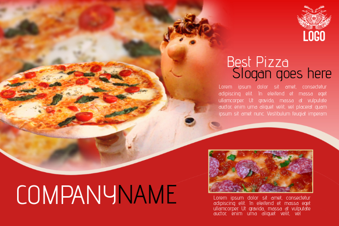 pizza restaurand red flyer template landscape