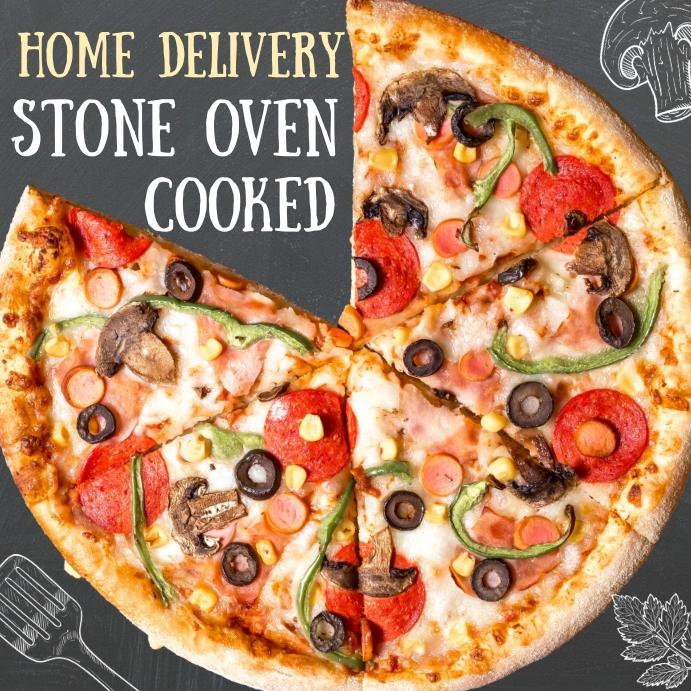 Pizza Restaurant Chalkboard Ad Template Instagram Post