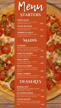 Pizza Restaurant Digital Menu Template