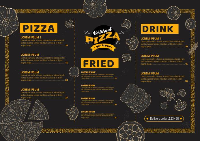 Pizza Restaurant Menu New Modern Cool A4 template