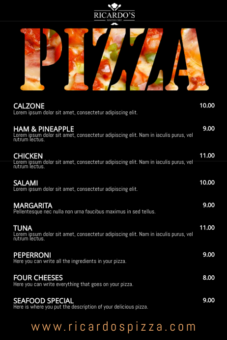 pizza restaurant menu template postermywall