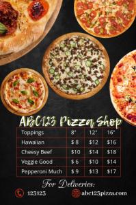 pizza shop menu template Плакат