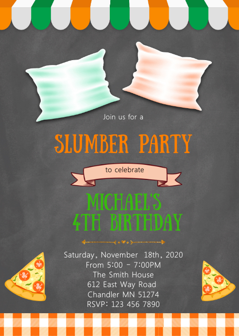 Pizza slumber birthday party invitation