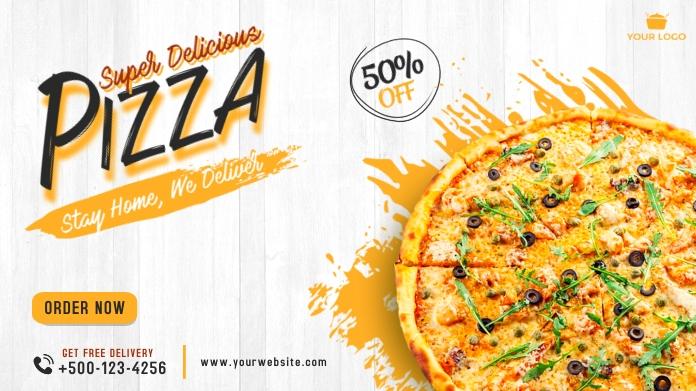 Pizza social media twitter post banner template