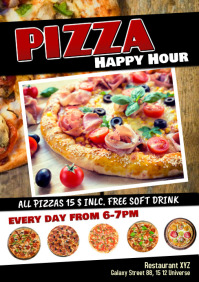 Pizza Special Deal happy Hour Restaurant Ad A5 template