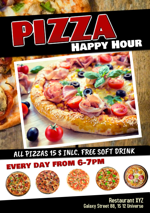 Pizza Special Deal Happy Hour Restaurant Ad Template