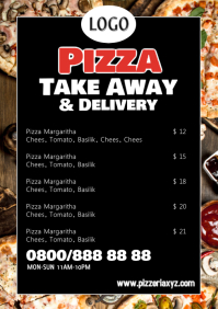 pizza Take away out restaurant Flyer Poster