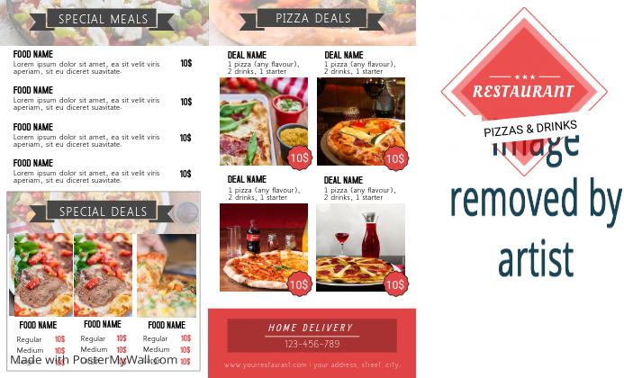 pizza trifold front flyer template postermywall