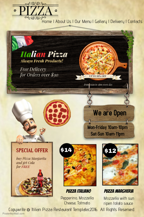 Plantilla de Sitio Web de Pizza | PosterMyWall