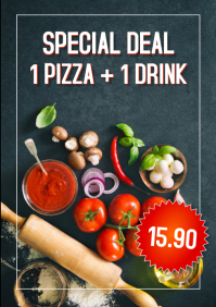 Pizzeria Flyer Poster Price Off Promotion Ad