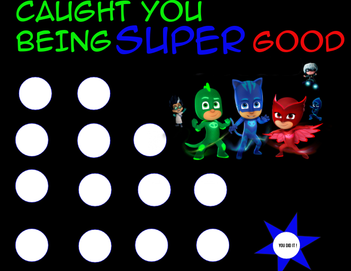 graphic regarding Pj Mask Printable Template known as PJ MASK STICKER CHART Template PosterMyWall