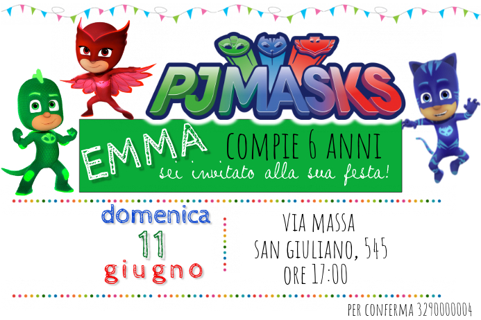 PJ Masks Birthday Invitation