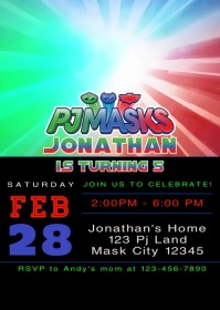 Pj Masks Party Video Animated Invitation 1 A6 template