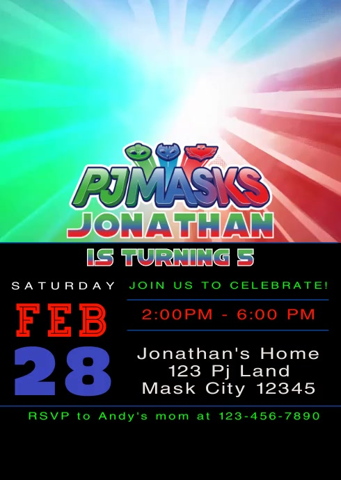 Pj Masks Party Video Animated Invitation 1