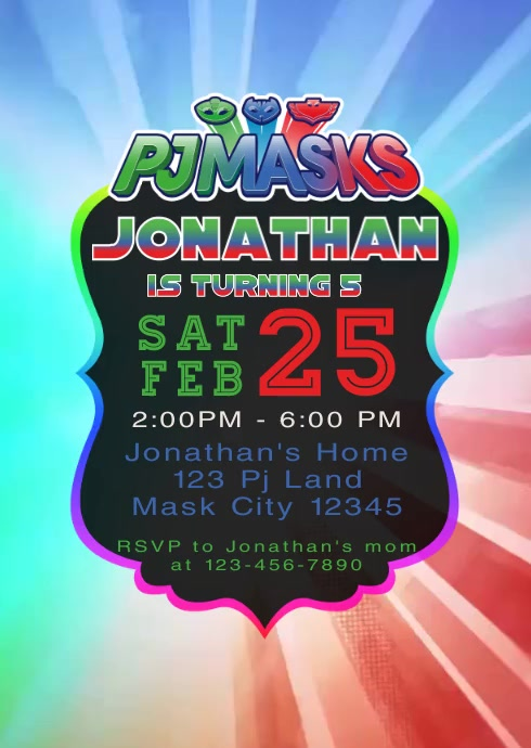Pj Masks Party Video Animated Invitation 2