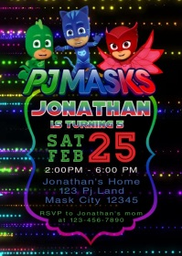 Pj Masks Party Video Animated Invitation 3 A6 template