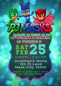 Pj Masks Party Video Birthday Invitation 4 A6 template