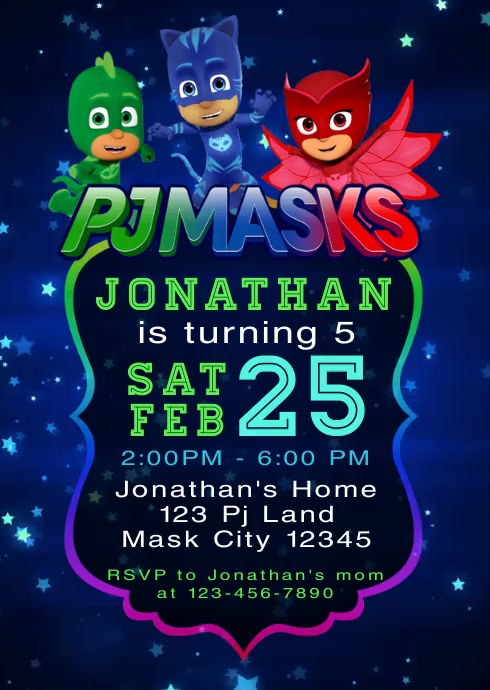 Pj Masks Party Video Birthday Invitation 5 A6 template