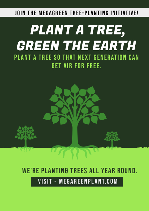 plant a tree campaign poster A4 template