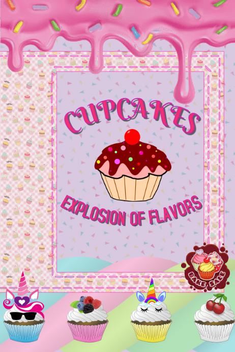 Plantilla para poster de cupcakes Plakat template