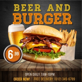 Burger Restaurant Flyer Instagram Post template