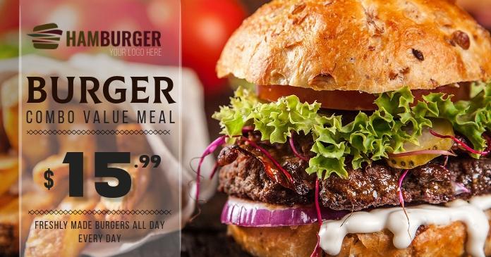 Burger Restaurant Flyer Facebook Shared Image template