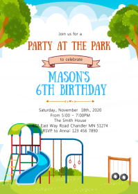 Playground birthday party invitation A6 template