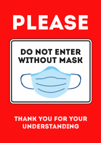 Please do not enter without a mask sign A4 template