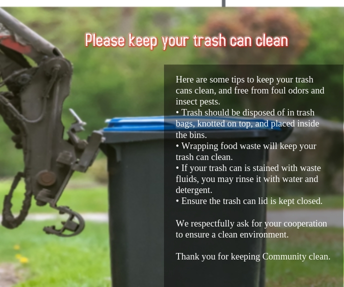 Please keep your trash can clean Grand rectangle template