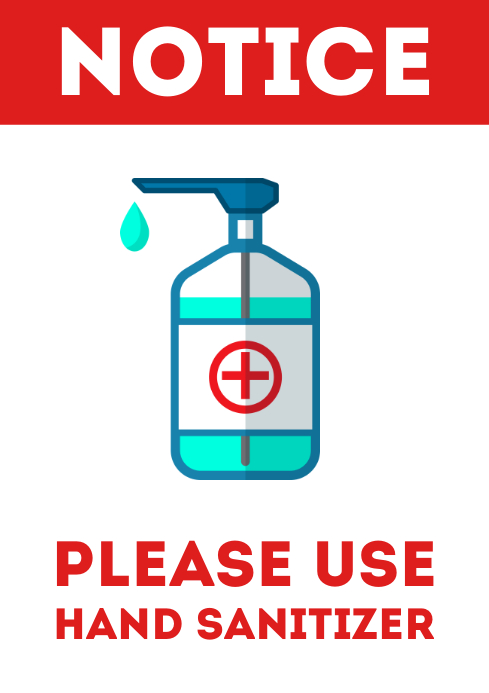 Please use hand sanitizer door sign printable A4 template