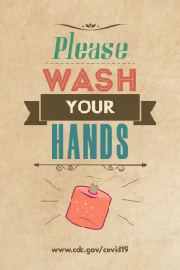 Please Wash Your Hands Retro Poster template