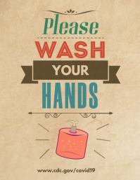 Please Wash Your Hands Retro Poster