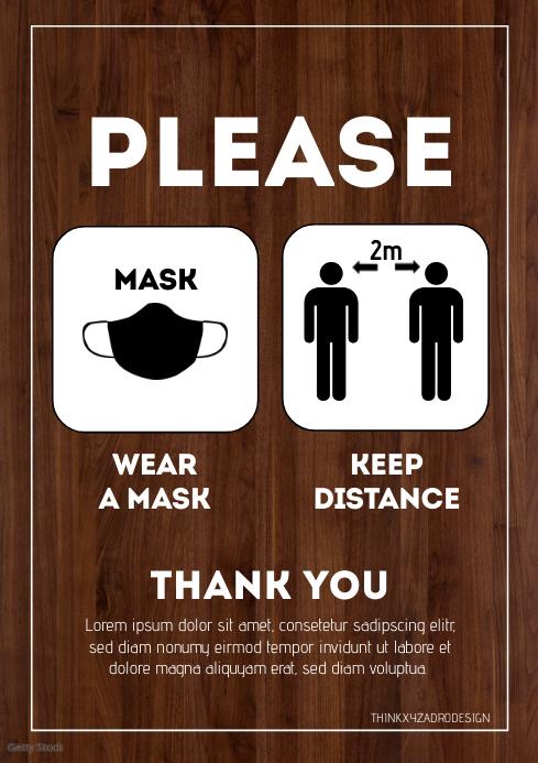 Please wear a mask Customer information din A4 template