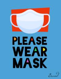Please wear a mask store shop sign flyer
